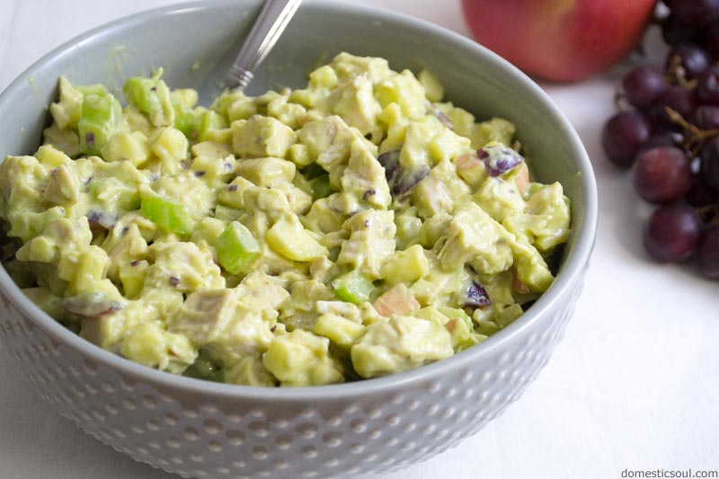 Waldorf-Inspired Avocado Chicken Salad Recipe (Mayonnaise Free) from domesticsoul.com