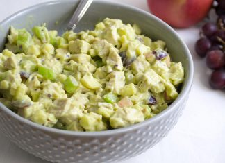 Waldorf-Inspired Avocado Chicken Salad Recipe from domesticsoul.com