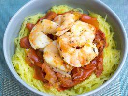 Spaghetti Squash with Roasted Tomatoes & Shrimp