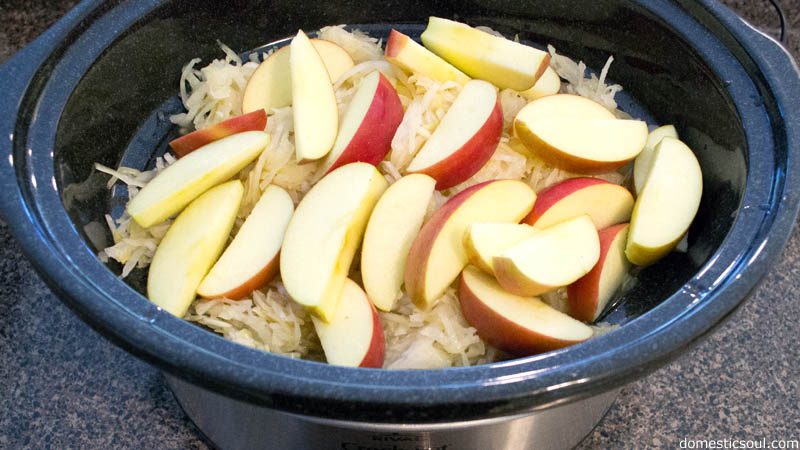 Crockpot Pork with Sauerkraut and Apples Recipe from domesticsoul.com