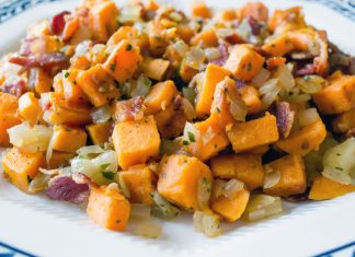 Bacon Sweet Potato Hash Recipe from domesticsoul.com