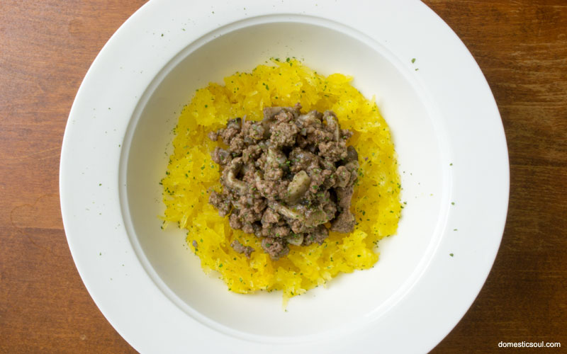 Dairy Free Beef Stroganoff served over spaghetti squash
