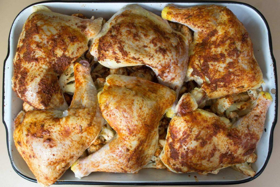 Rosemary Roasted Chicken & Cauliflower Recipe from domesticsoul.com