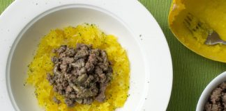 Dairy Free Beef Stroganoff served over spaghetti squash from domesticsoul.com